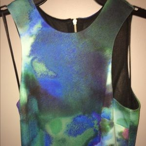 XS Watercolor Detailed Blue Green Dress